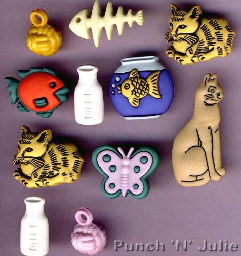 Cats /& Peces-Gatito Pecera Fishbone Mariposa leche Novedad Craft Botones