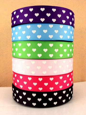 "1 METRE x 1"" WHITE HEARTS U PICK COLOUR Grosgrain Ribbon BOWS CRAFT HAIR CLIPS"