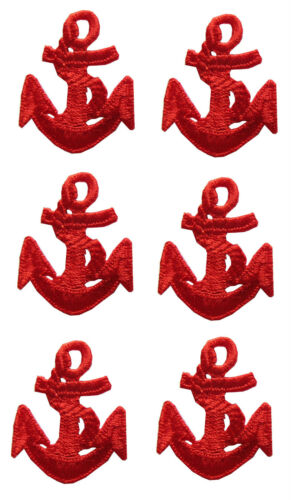 """Lot 6Pcs 1-1//2/"""" Nautical Ship Red Anchor Embroidery Iron On Applique Patch"""