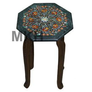 Green Marble Side Table Inlay Coffee Table Top Gems Stones Vintage