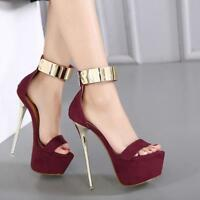 Hot New Womens Platform Ankle Strap High Stiletto  Heels Sandals Peep Toe Shoes#