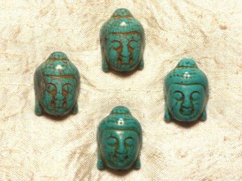 Fil 39cm 13pc env Perles de Pierre Turquoise Synthèse Bouddha 29mm Bleu Turquo
