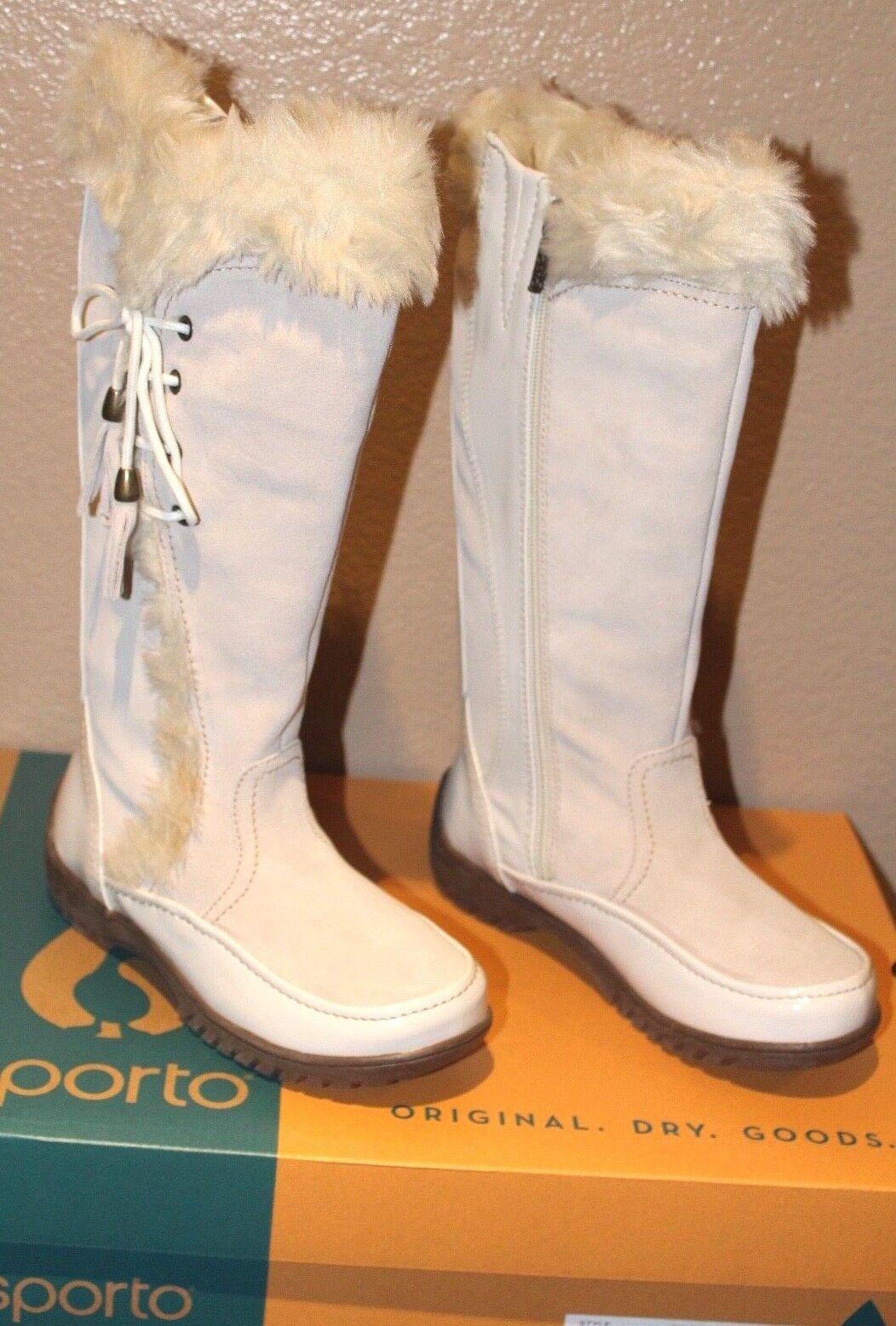 Sporto Waterproof Suede Tall Boot Side Winder Tassel Lace Up Winter WEISS 61/2 M