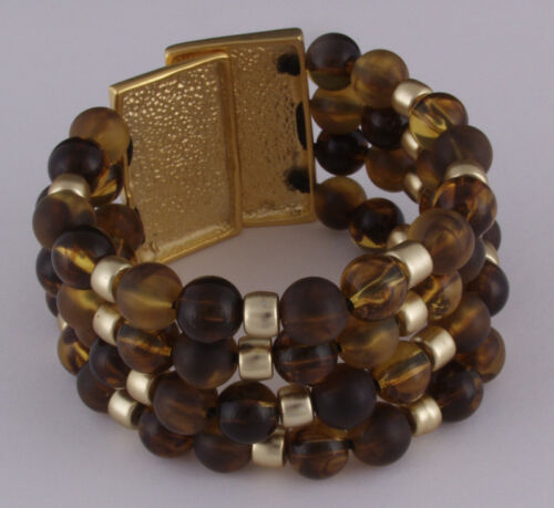 Ausgefallenes Design Perlenarmband 3reihig braun elastisch XXL Schließe gold Neu
