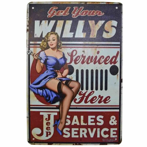Willys Jeep Metal Tin Sign Retro Homewares Decor Vintage Pinup Garage Car WW2