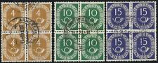 BRD aus 1951 gestempelt Viererblöcke Posthornsatz MiNr.124, 128, 129!