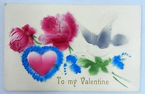 Vintage-Postcard-VALENTINE-039-S-DAY-Card-Embossed-Heart-Dove-Flowers-Early-1900-039-s