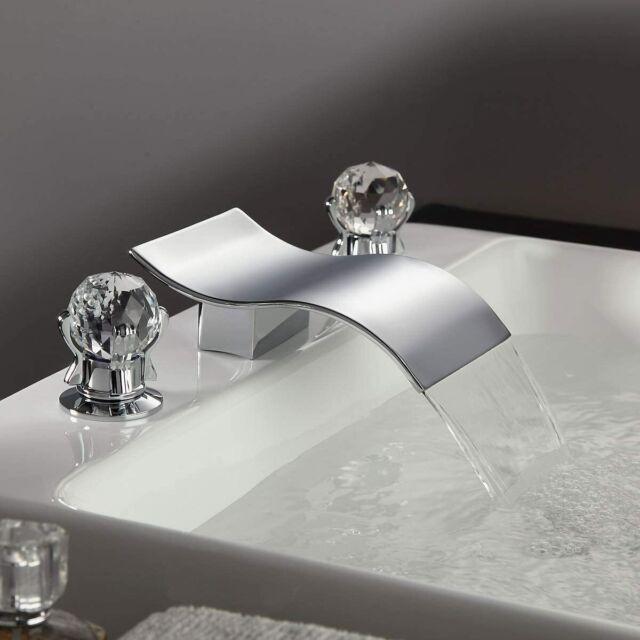 Waterfall Widespread Bathroom Basin Sink Faucet 2 Crystal Handle 3Hole Mixer Tap