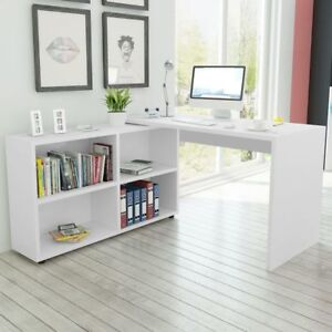 Details About White Corner Office Desk Large Home Workstation Wooden Computer Shelves Student