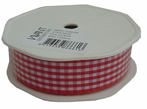 2159-2025-Small-Check-Gingham-Vivant-Ribbon-25mm-x-1m-Red