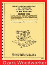 Craftsman 10 Radial Arm Saw 11329402 Amp 11329440 Operator Parts Manual 0167