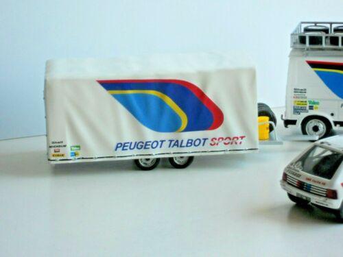 REMORQUE TRAILER TRANSPORT PEUGEOT TALBOT SPORT ASSISTANCE 1//43