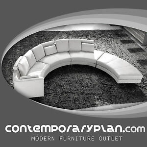 Image Is Loading Contemporary White S Shaped Curved Leather Sectional Sofa