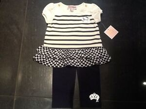 b0a19df41 NWT Juicy Couture Cream   Navy Cotton Dress Top   Leggings Baby Girl ...
