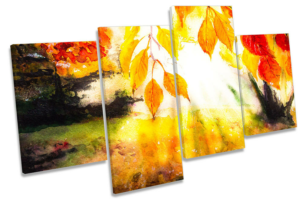 Orange Autumn Leaves Repro Framed MULTI CANVAS PRINT Wall Art
