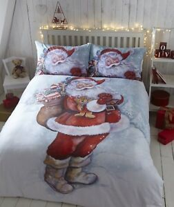 SINGLE BED DUVET COVER SET FATHER CHRISTMAS FESTIVE SNOW POLYCOTTON BEDDING