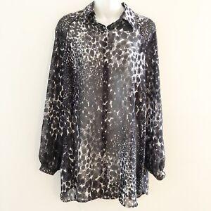 762ff633320efa CAbi Womens Sheer Blouse Black White Animal Print Button Front Size ...