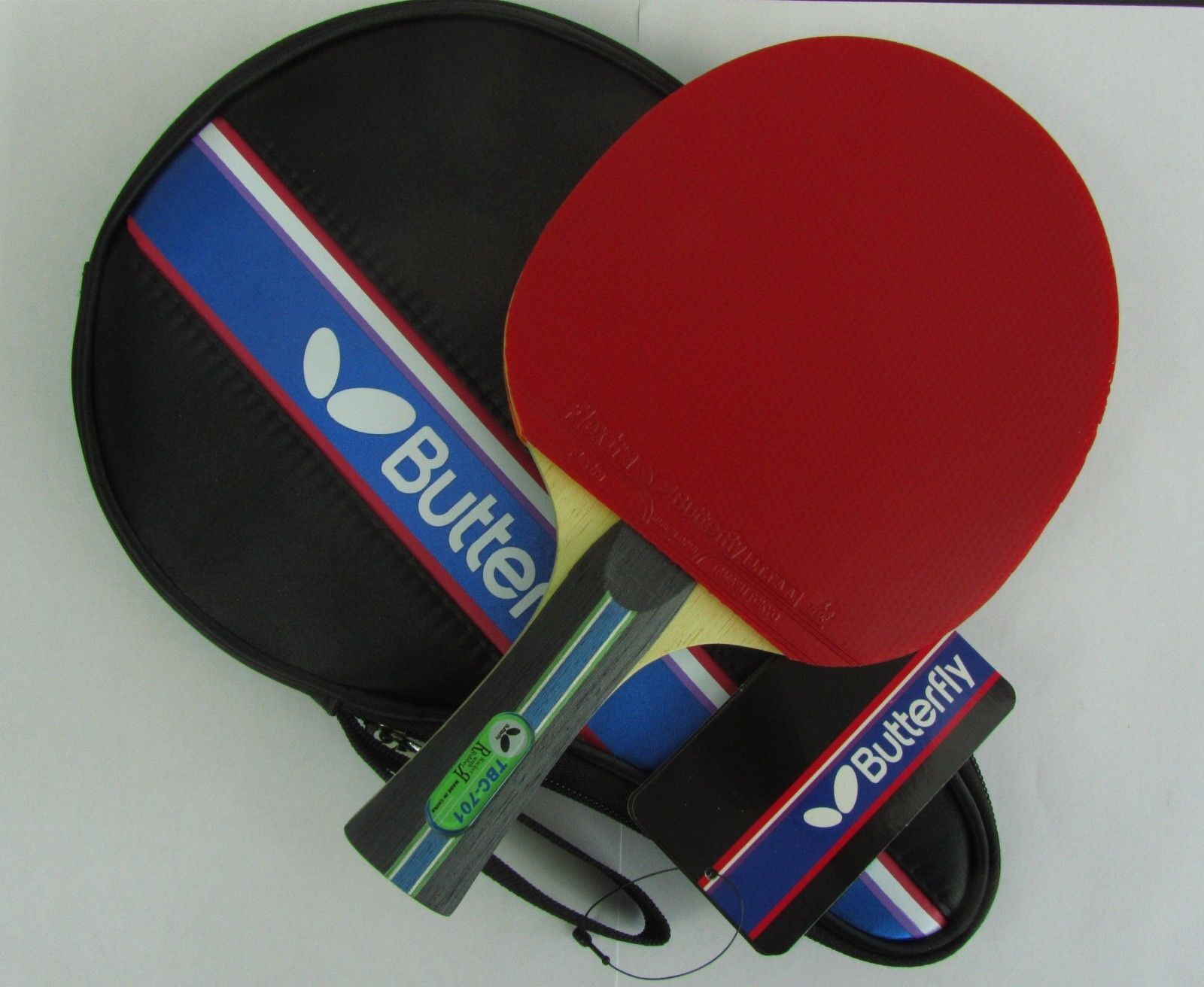 Butterfly TBC701 TBC-701 Table Tennis Paddle  Bat, w  Case, 2 side Pips-in, UK