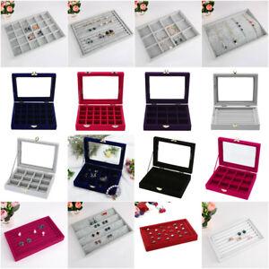 Velvet-Glass-Jewelry-Display-Organizer-Box-Tray-Holder-Earring-Ring-Storage-Case