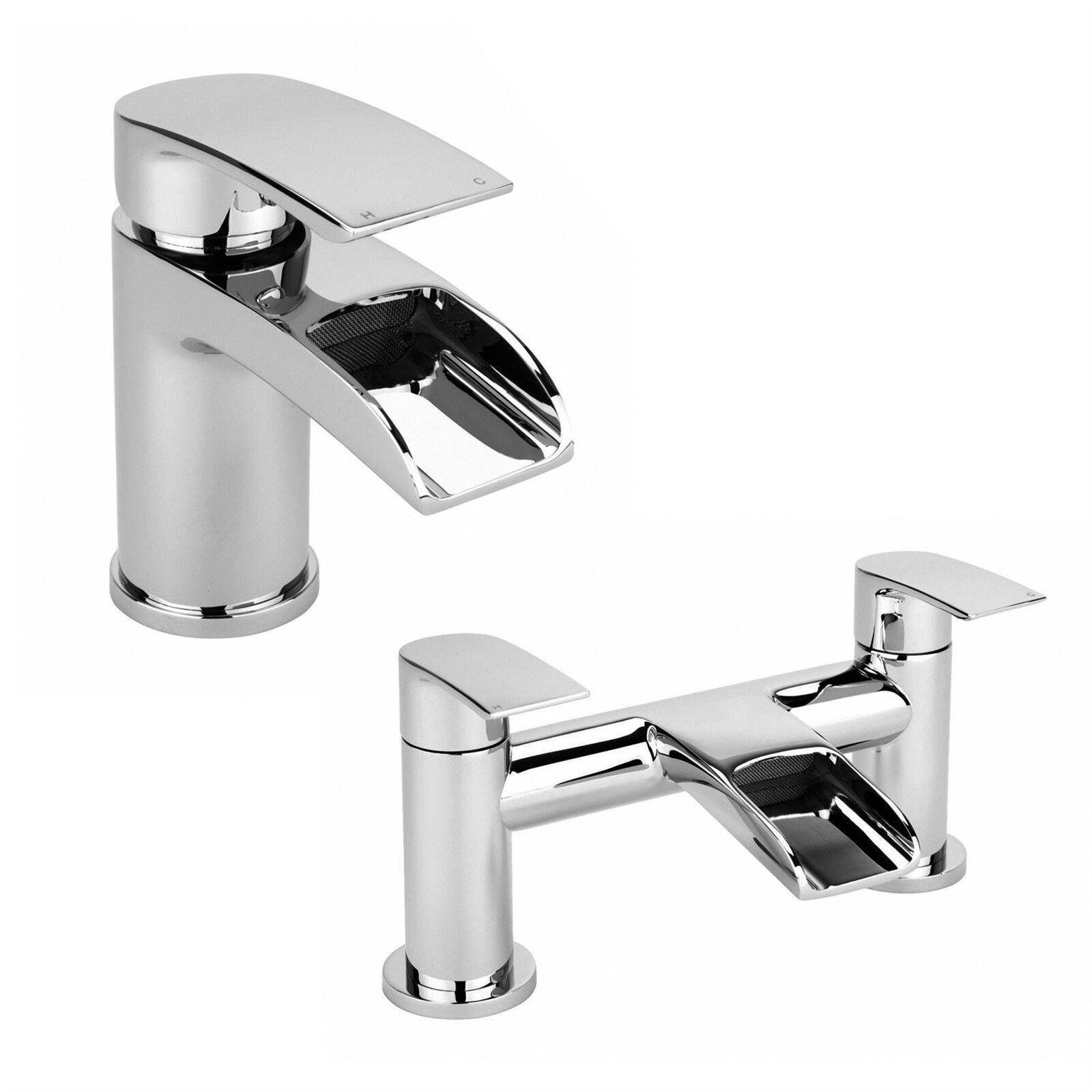Salle de bains moderne chrome cascade robinet set-bassin mono & bain mélangeur de remplissage