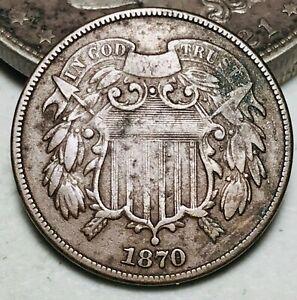 1870 Two Cent Piece 2C Ungraded CHOICE Civil War Era Good US Copper Coin CC6529