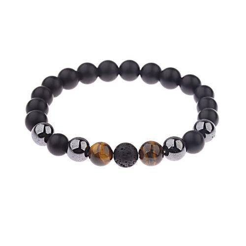 Hommes 10 mm NOIR ONYX lave Hématite Tigers Eye Gemstone natural stone Bracelets