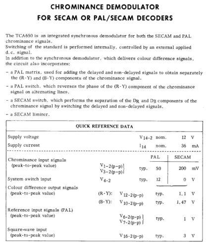 Secam//PAL synchrone Démodulateur MCA650 TCA650 1 Pcs