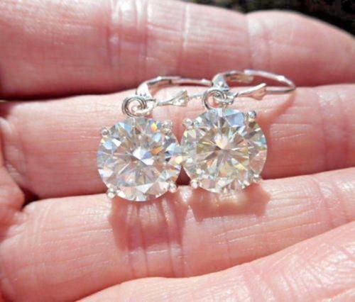 14k White gold Over 2.00 Ctw  White Moissanite Dangling Halo Hoop Earrings