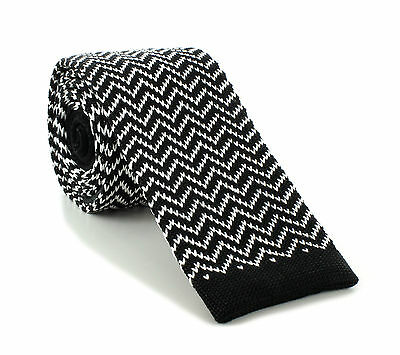 Michelsons UK - 6cm Silk Knitted Skinny Zig Zag Design Ties