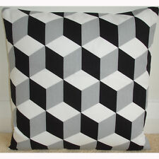 "18"" Cushion Cover Geometric Retro Funky Black White and Grey 3D Cube Monochrome"