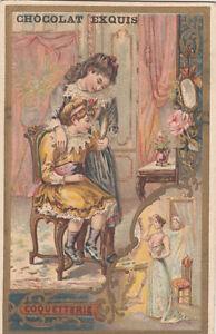 COQUETTERIE-ENFANTS-FILLETTES-MIROIR-ENFANTINA-1900s-IMAGE-CHROMO