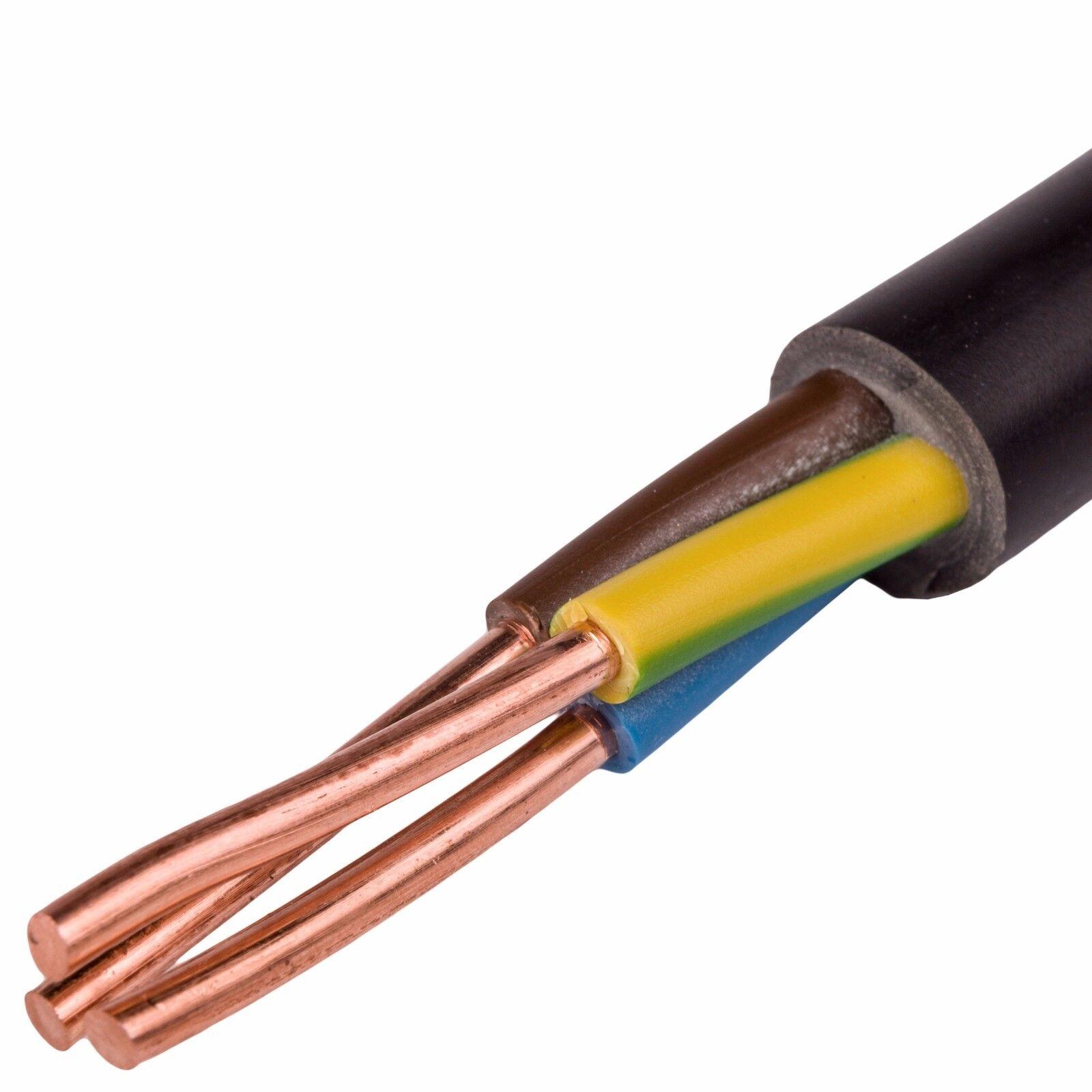 NYY-J 3x2,5 mm² Erdkabel Starkstromkabel Starkstromkabel Starkstromkabel (ab 5 Meter erhältlich)  | Starke Hitze- und Abnutzungsbeständigkeit  b64894