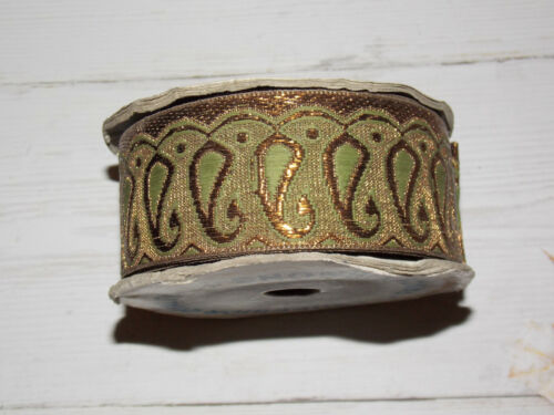 40mm olive green gold bronze metallic embroidered ribbon applique indian