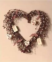 15 Country Decor Branched Heart Wreath With Love Cutouts Rustic Decor