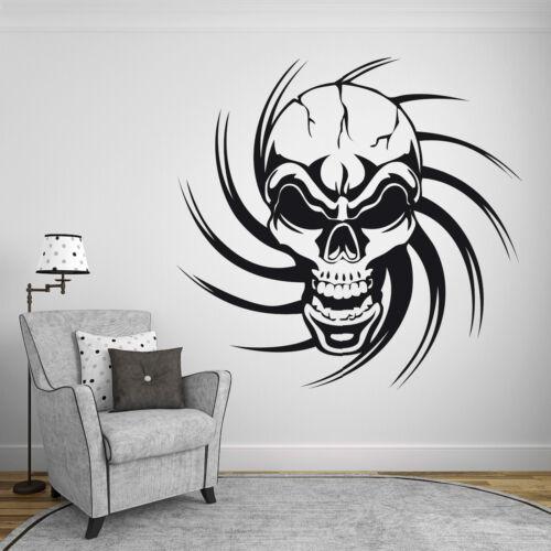 Skull Rock´n´Roll Deko Wohnzimmer Tribal WandTattoo Wandaufkleber Totenkopf