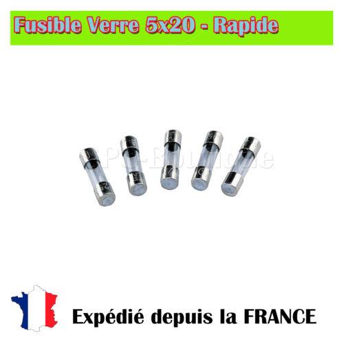 Rapide 5A//250V Fusible verre 5x20