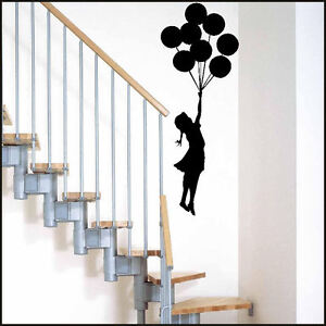 LARGE BANKSY GIRL BALLOON CHOICE OF COLOURS BEDROOM WALL MURAL ART STICKER DECAL