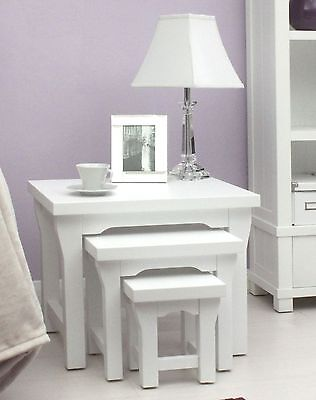 Hampton New England style white painted furniture nest of three coffee tables