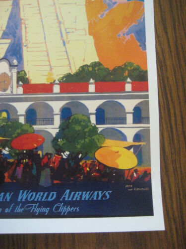 """GUATEMALA 11/"""" x 17/"""" Collector/'s Travel Poster Print Pan American Air Lines"""