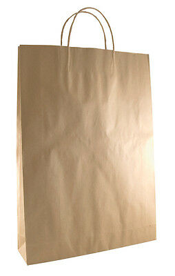 BROWN KRAFT PAPER BAGS WITH TWISTED PAPER HANDLE - MEDIUM X 50