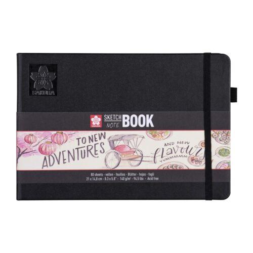 SAKURA Hardback Sketch Notebook 80 Sheets creme white paper 140g Black Cover