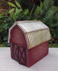 Miniature-Dollhouse-FAIRY-GARDEN-Mini-Red-FARM-Barn-House-w-Silver-Roof-NEW