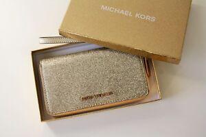 Details zu MICHAEL KORS Portemonnaie GIFTABLES LG FLAT CASE Leather pale gold mit Glitzer