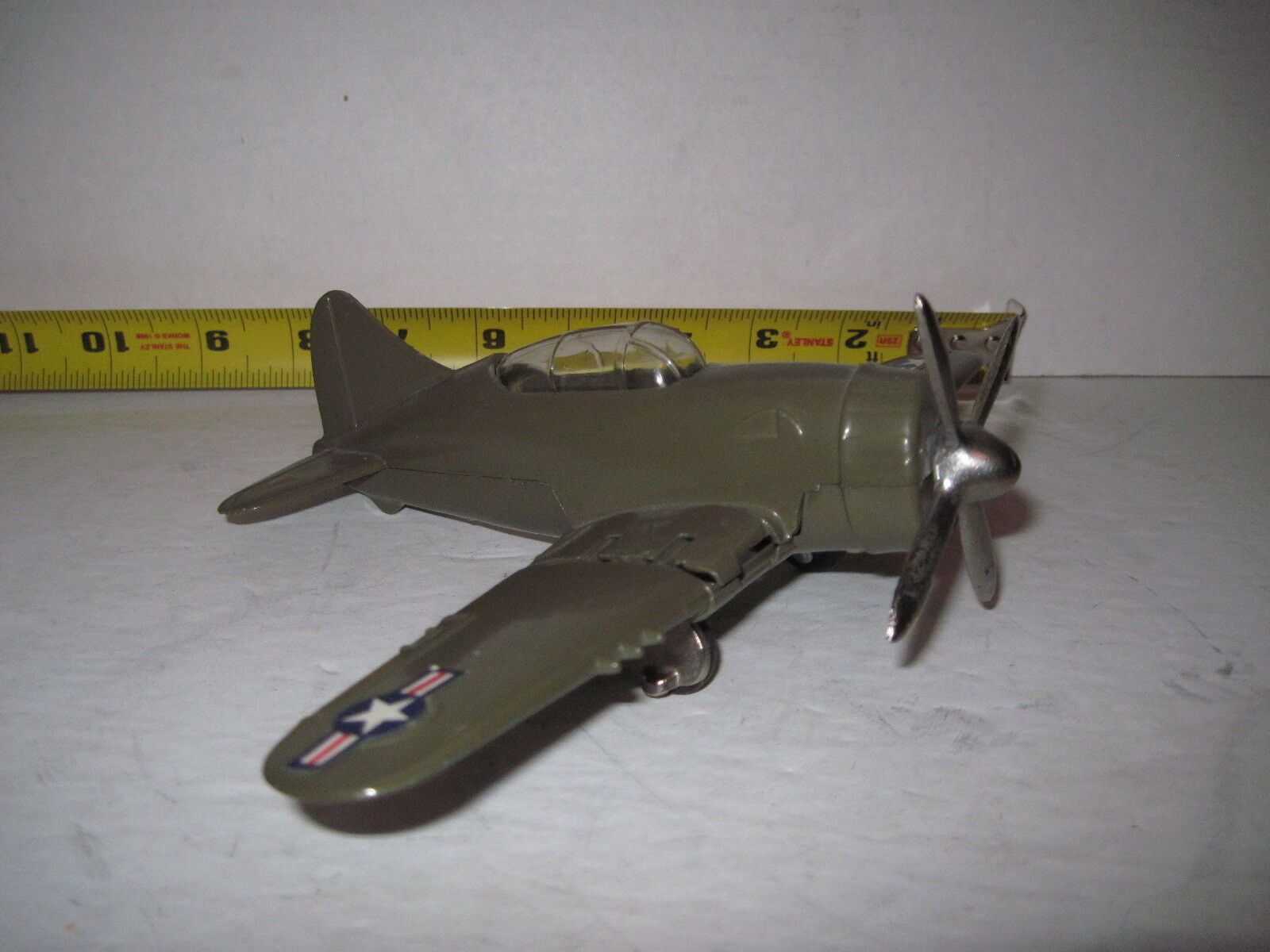 1958 Hubley Airplane Army-Air Corps Fighter Bomber  in O.D.9inch ORIGINAL NICE