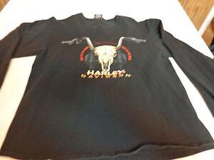 harley davidson dealer longsleeve t shirt l janesville wi cow skull rh ebay com Longhorn Skull Logo Cattle Skull Logo