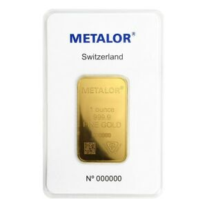1 oz Metalor Gold Bar .9999 Fine (In Assay)