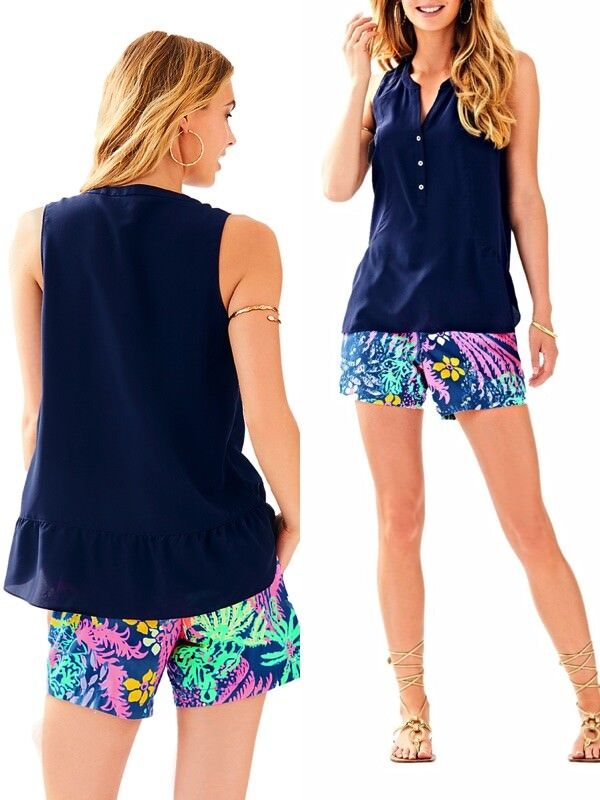 d21b9d05d811fb NWT 118.00 LILLY KERY TOP WITH FLOUNCE TRUE NAVY XXS SILK PULITZER ...