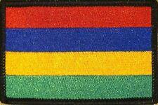 MAURITIUS Flag Iron-On Military Patch Morale Emblem BLACK Border #22