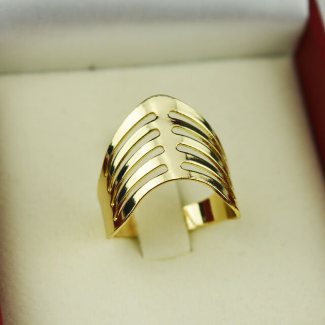 1 pc Ring Finger Band Multi Type Geometry Hollow Out Adjustable Size Gold New e