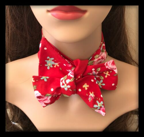 Red Floral Headband Bandana Hairband Scarf Hair Tie Band Vintage Roses Fabric A
